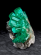 Emerald on Calcite, Coscuez Mine, Muzo Municipality. Rice Northwest Museum Collection. Image by Evan D'Arpino.