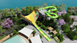 Rendering of yellow and green water slide that has a wide opening with teeth.