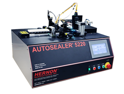 The Autosealer 5220 is a condensed ammunition sealing system with a straight-line conveyor and LCD touchscreen control pad. The Top of the machine includes a V-block conveyor to hold each cartridges and valves on either side of the conveyor for sealing the primer and case-mouth on opposite sides of the cartridge. At the end of the conveyor is a set of high intensity UV LED curing lights to cure exposed sealant in seconds. Finally a small metal ramp guides the release of sealed rounds.