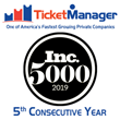 TicketManager Named to the Prestigious Inc. 5000 List of America's Fastest-Growing Private Companies for the 5th Year in a Row