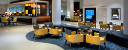 Noventri Flightboard and digital readerboard installed in lobby at BWI Airport Marriott