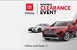 Lexington Toyota offers a National Clearance Event for select vehicles