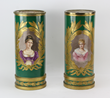 Pair of mid 19th century French Napoleon II Sevres porcelain urns, having hand-painted portraits of young women, signed 'de David'