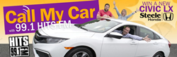 White 2019 Honda Civic LX on Yellow Background with the Three 99.1 FM Radio Hosts in and Around the Car with Orange Call My Car Text, the 99.1 HITS FM Logo, a Steele Honda Logo and Purple Win a New Civic LX Text.