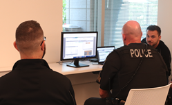 All Traffic Solutions Account Manager Corey Hart demos remote management of variable message signs to local law enforcement.