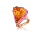 """Solar Flare"" Hand-Carved Citrine and Pink Sapphire Gold Ring by Naomi Sarna"