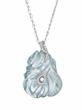 Exceptional Hand Carved Aquamarine and Diamond Gold Pendant by Naomi Sarna