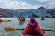 Group approaches Nellie Juan Glacier in kayaks.