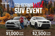 Salinas Toyota is hosting the California Wild SUV Event to offer shoppers up to $2,500 cash back