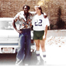 """Bullet"" Bob Hayes, the ""World's Fastest Human,"" with his good friend, #22, Danny Jones, in Dallas, Texas in August of 1980."