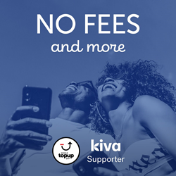 World Top up Day logo, Kiva logo, happy people, no fees,