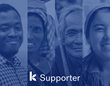 Kiva logo, multiple ethnic faces