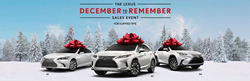 White 2019 Lexus ES, White 2020 Lexus RX and White 2020 Lexus NX Models with Red Bows on Top in Snowy Field with Lexus December to Remember Sales Event Text