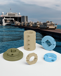 Shaft collars, couplings, and mounting devices can now feature desert sand, earth brown, forest green, olive drab, aircraft gray and green, blue and other AMS-STD- 595 colors.