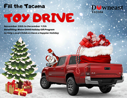 Red Toyota Tacoma on Snowy Background with a Christmas Tree and Presents and Santa's Bag in the Back with Santa Driving. Black and Red Text with Fill the Tacoma Toy Drive and Details with Downeast Toyota Logo