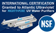Atlantic Ultraviolet's MIGHTY PURE® MP36C 12 GPM and MP49C 20 GPM UV Water Purifiers have been Granted NSF Certification