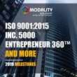 Modality Solutions Announces 2019 Year-End Milestones Including ISO 9001:2015, Inc. 5000, Entrepreneur 360™ and More