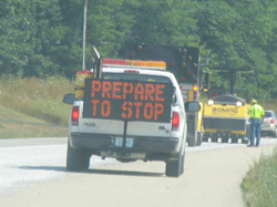 ATS portable changeable message sign alerts drivers that they may have to brake.