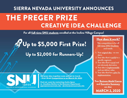 Preger Prize Campus Announcement for Sierra Nevada University