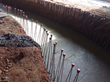 Proof in the bleed water: The green tracer on the base slab of this Tauá Aquapark water channel (with reinforcement bars for the walls yet to be cast) shows that PENETRON ADMIX was used.