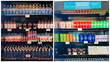 Before (right) and After(left) photos of beverage and food products sales display at Oakland Zoo restaurants.