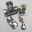 Three specialty mandrels that hold 45 and 90 degree push-lock fittings along with a #4 and #8 diameter Parker push-lock fittings. Mandrels are used with Barb-Tech Tool's hose assembly tool for easier installation of 45 and 90 degree fittings.