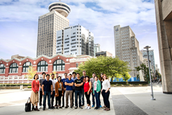 Team Routific outside their headquarters in Vancouver, Canada