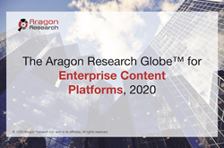 Aragon reveals the Aragon Research Globe for Enterprise Content Platforms, 2020.