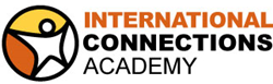 Star person in circle with orange and yellow background. International Connections Academy to right.