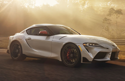 2020 Toyota Supra parked with sunlight on it