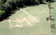 Aerial View of Arbuckle Fort showing the stockade