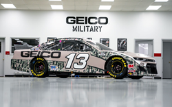 New-for-2020 wraps produced by the Richard Childress Racing (RCR) graphics team include this eye-catching GEICO Military design, printed on a Roland DG TrueVIS VG2-640 wide-format printer/cutter.