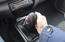 stock photo of hand on stick shift manual transmission