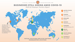 Virtual Vocations' top Q2 Employer Partners are located around the globe in countries like the United States, Sweden, South Africa, and Australia.