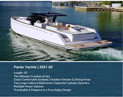Pardo Yachts 2021 50' Yacht Flyer with Image of the Vessel in Water
