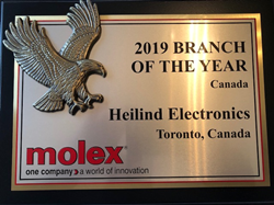 Heilind Electronics Receives Molex Canada Branch of the Year Award