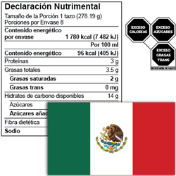 mexico nutrition facts label and front-of-package seals