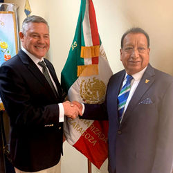 Col. David Coggins (left), President of FUMA, with Dr. Guzman Lopez, President of AMIZ, in Puebla, Mexico, in February 2020 when they signed their Memorandum of Friendship.