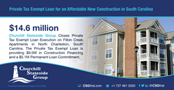 Churchill Stateside Group Closes Private Tax Exempt Loan providing $9.5M in Construction Financing and a $5.1M Permanent Loan Commitment.