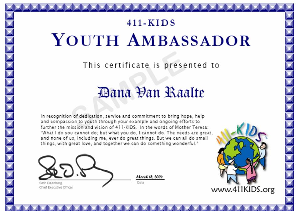 New kids menus feature activities to develop emotional intelligence menus are helping 411 kids youth ambassadors organize clubs to promote volunteer and prevention programs in schoolsmple certificate given by 411 kids yelopaper Choice Image