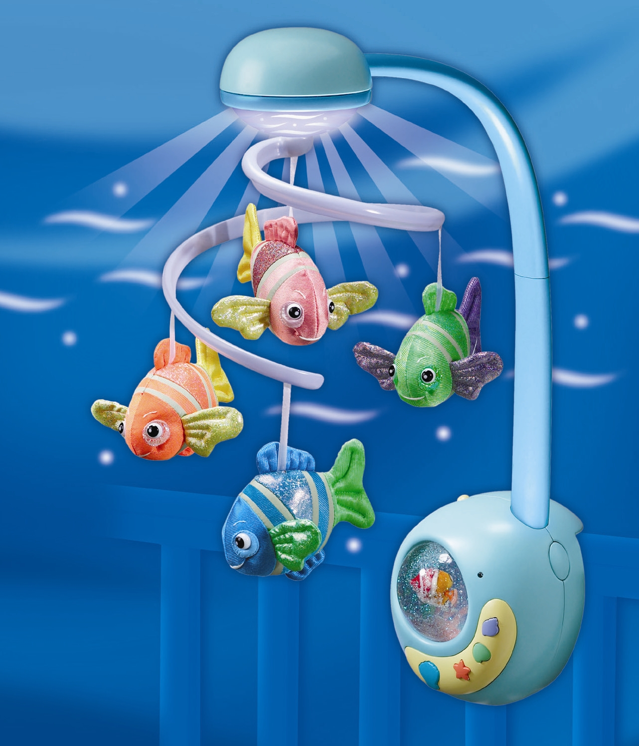 calypso remote control crib mobile brings fun and fascination of the sea to baby s nursery. Black Bedroom Furniture Sets. Home Design Ideas