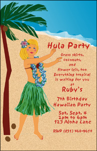 Hawaiian Hula Party Invitation FrontHula Girls Hair Is Changed To Match The Birthday Girl