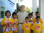 Brigham with tsunami survivors in Phuket
