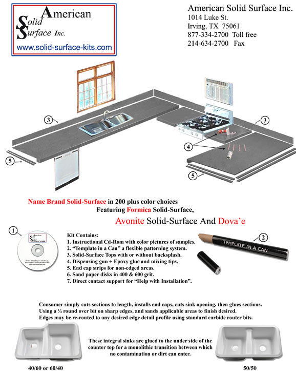 Self-Installed Solid Surface Countertop Kit Now In Avonite ...