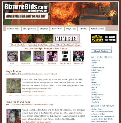 Funny Ebay Auctions A Place In History At Bizarrebids Com