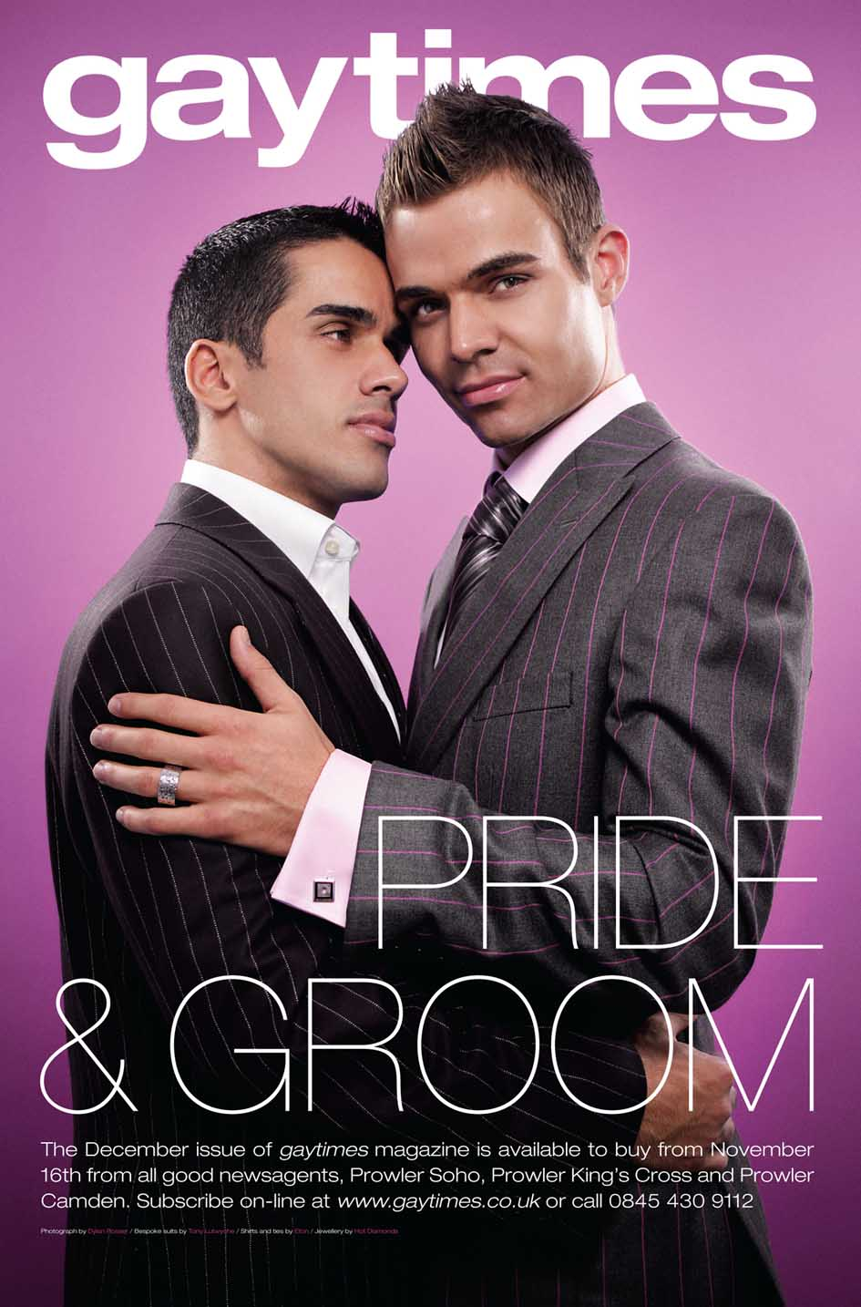 December 2005 cover for Gay Times magazine (UK)This image was a poster in  London Tube stations and the cover of the December 2005 Gay Times (UK) mens  ...