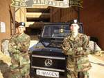 Marco Benz and his battle buddy PFC. Hank Bizzanelli  with a Mercedes Benz G-class Cabrio in front of Delta Company 2nd Battalion 19th Infantry Regiment