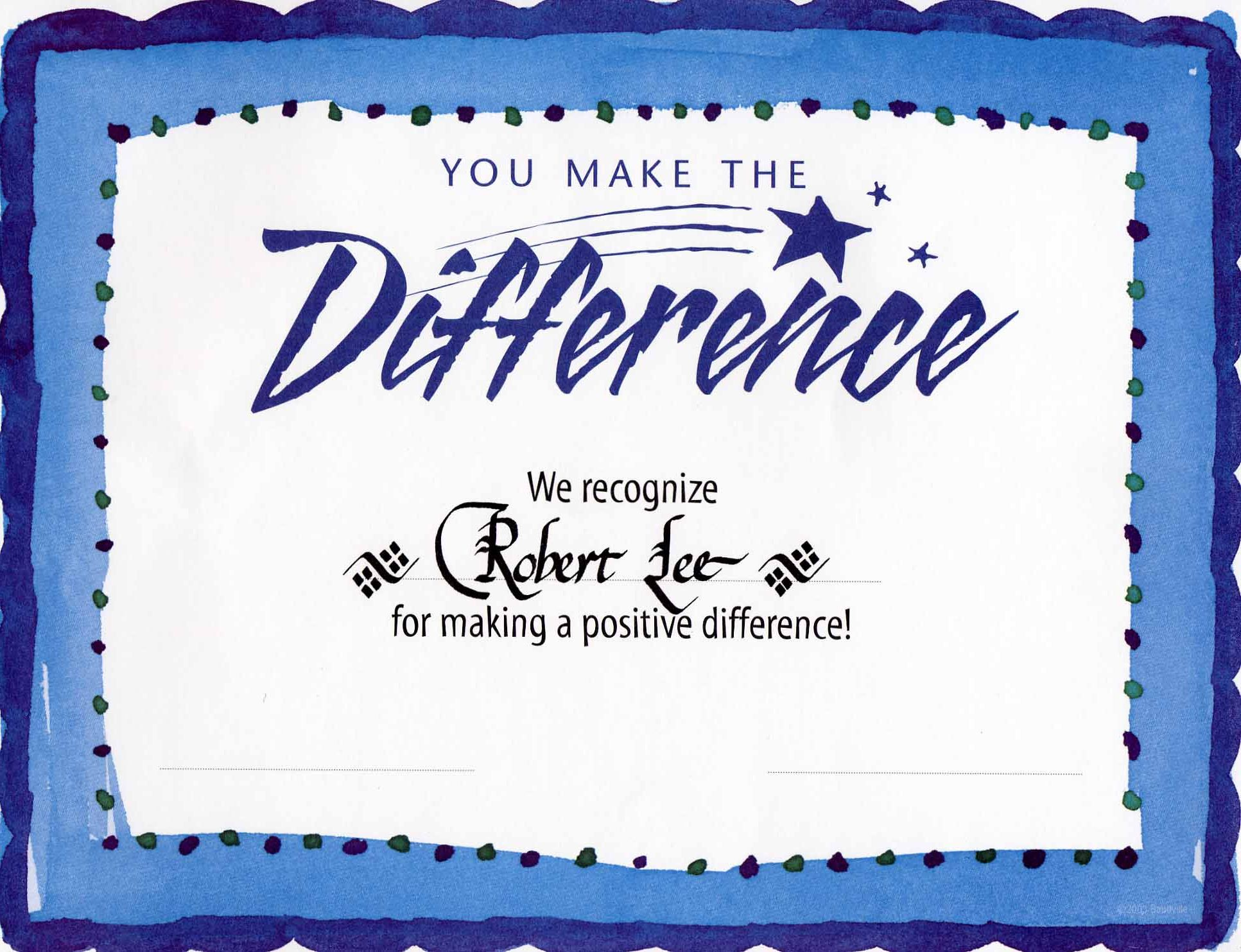 difference award certificatethe difference award certificate with hand lettered italic calligraphy available through wwwawardcertificatesbystevecom