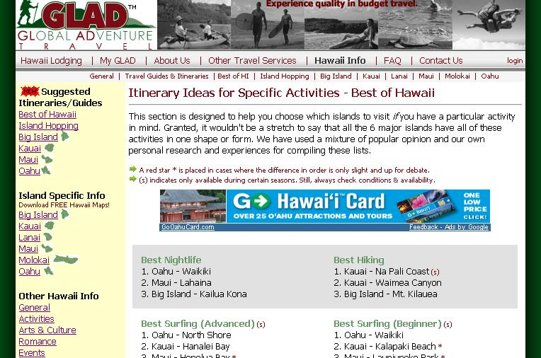 free hawaii travel itineraries and travel planner from glad travel