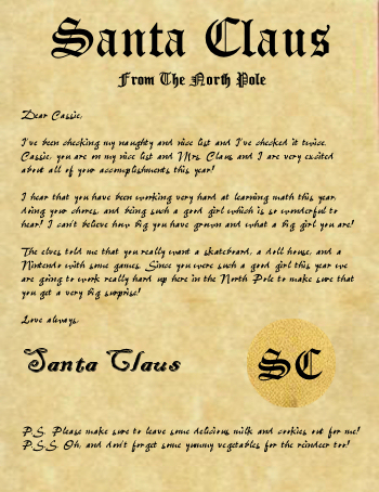 Letters from santa claus delivered from the north pole santa claus letter from the north polepersonalized letter from santa ordered from a secure server to keep your childs information safe and secure spiritdancerdesigns Images